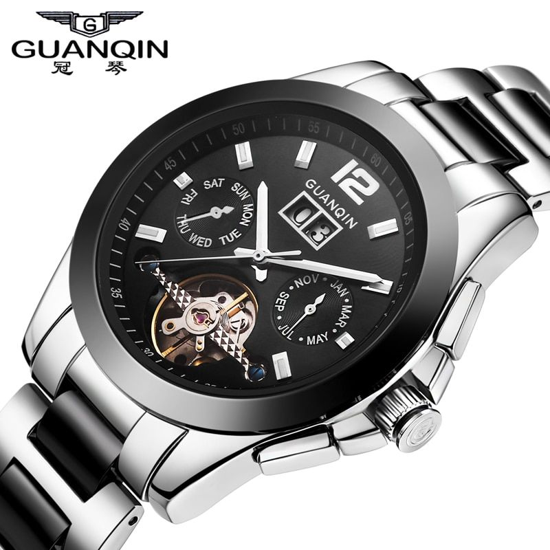 High quality Men Sport Watches Top Brand Luxury Men Military Wrist Watches GUANQIN Waterproof Ceramic steel  Men Sports Watch