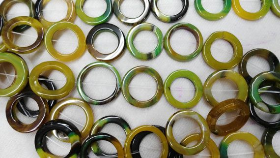 larger 30mm 50mm full strand natural agate onyx round oval loop circles Donut stone green yellow red white black mix bead neckla