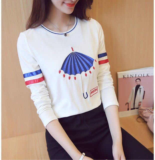 Fashion new Women Spring autumn cute embroidered Cartoon Umbrella pattern Contrast color Long Sleeve cotton O-Neck T-shirt tops