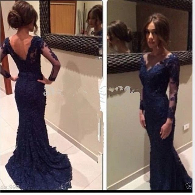 Sexy Elegant Women Prom Dress V Neck Navy Blue Lace Mermaid Long Sleeve Evening Party Dresses New Arrival 2017 Appliques