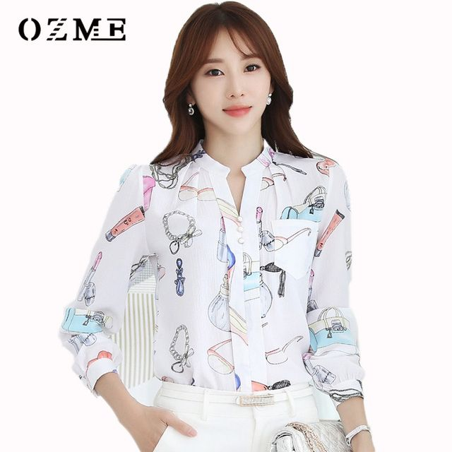 OZME Women Shirt Casual Tops Long Sleeve Chiffon Shirt V-neck Blouse Office Blouses Simple Spring Autumn Plus Size Chemise Femme