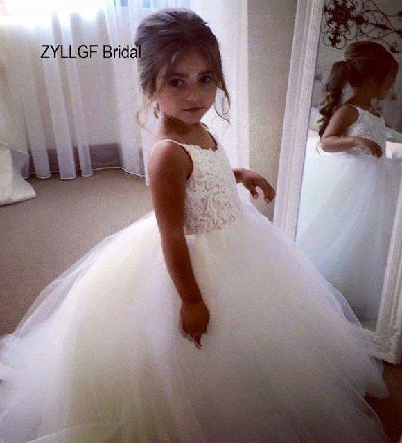ZYLLGF Bridal Puffy V Neck Long Floor Length Flower Girl Gown Tulle Girls Pageant Dresses Size 10 12 Made In China FP6