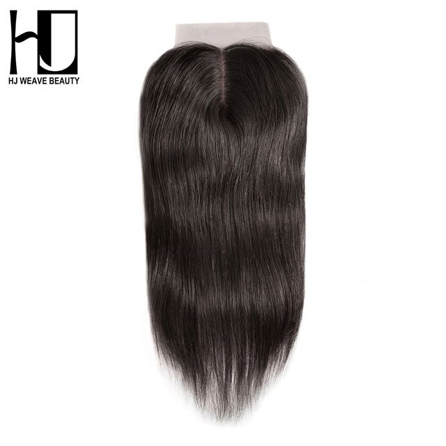 "HJ WEAVE BEAUTY Silk Base Closure Middle Part 4""x4"" Swiss Lace Brazilian Straight 100% Human Remy Hair With Baby Hair"