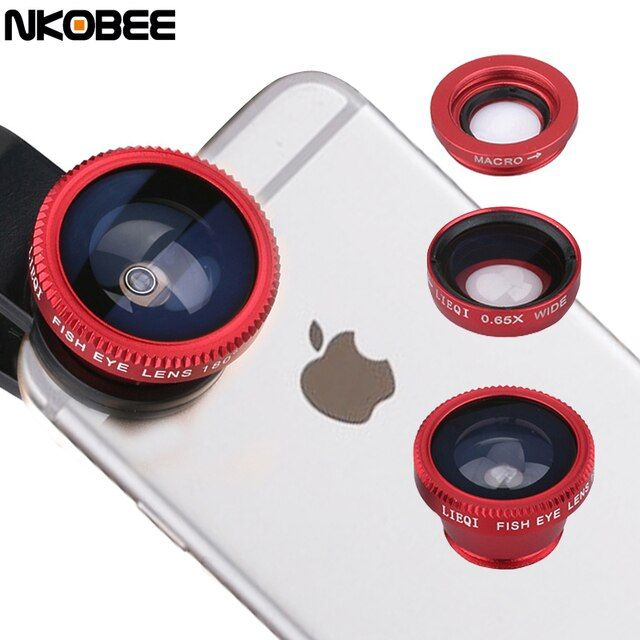 NKOBEE Universal Mobile Phone Lenses 3 in 1 Wide Angle Macro Fish Eye Lens For iPhone 5S 6 Samsung S5 S6 HTC M9 LG Sony Silver