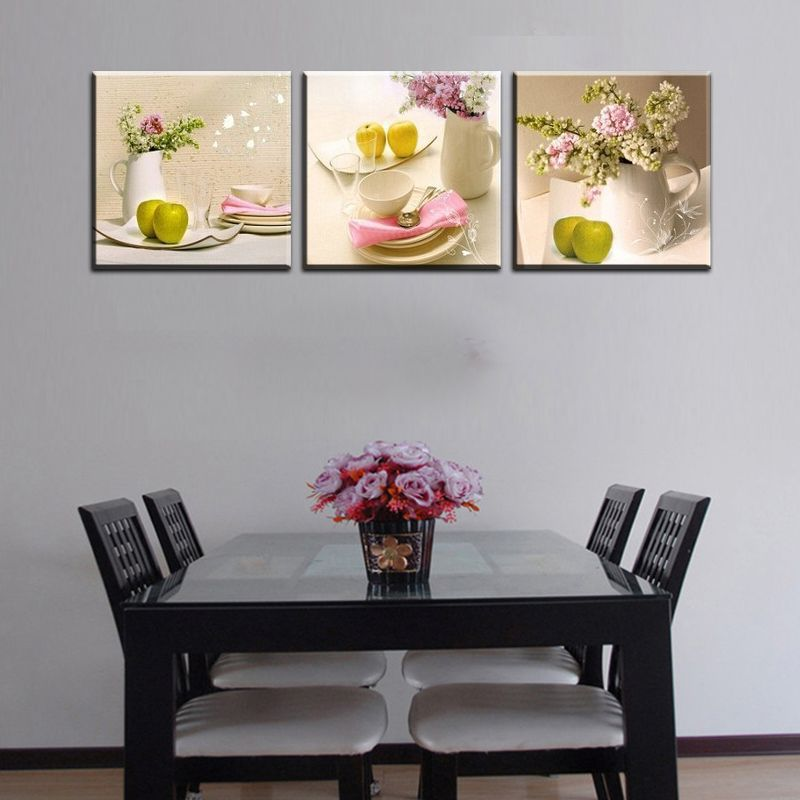 3 Panels Kitchen Fruit Decoration Flowers Canvas Abstract Painting On Wall Hanging Combinative Picture Print Painting Modular