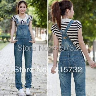 Free Shipping 2017 New Summer Denim Bib Pants Women Casual Denim Jumpsuits Trousers Ladies Rompers Jeans Blue Female Overalls