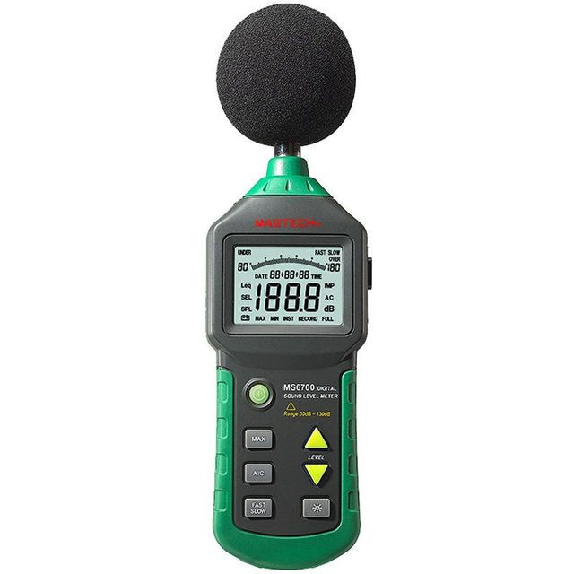 MASTECH MS6700 Auto Range Digital Sound Level Meter Tester 30 db to 130dB Decibel meter