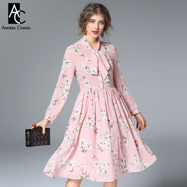 spring summer runway designer woman dress pink dark blue silk dress white flower print collar bow fashion cute knee length dress