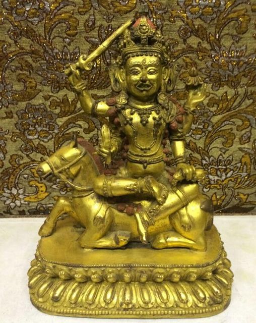 China Antique Tibet Tantra 4 Arms Protector Buddha Ride Horse Gilt Bronze Statue wholesale Bronze Arts outlets