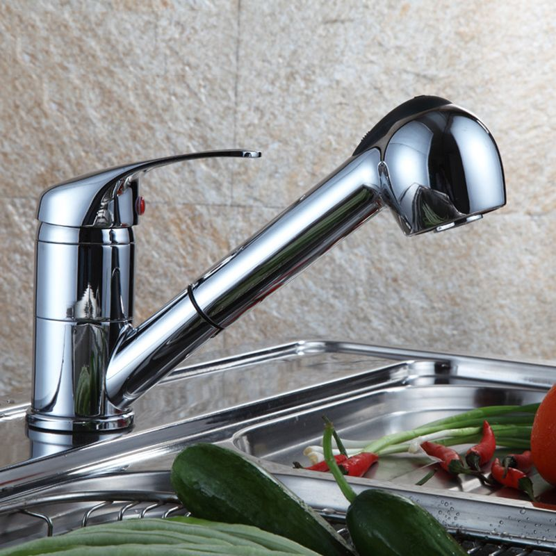 jooe kitchen faucet Single Holder Single Hole cold and hot water faucet Ceramic Plate Spool Pull Out and rotate kitchen tap