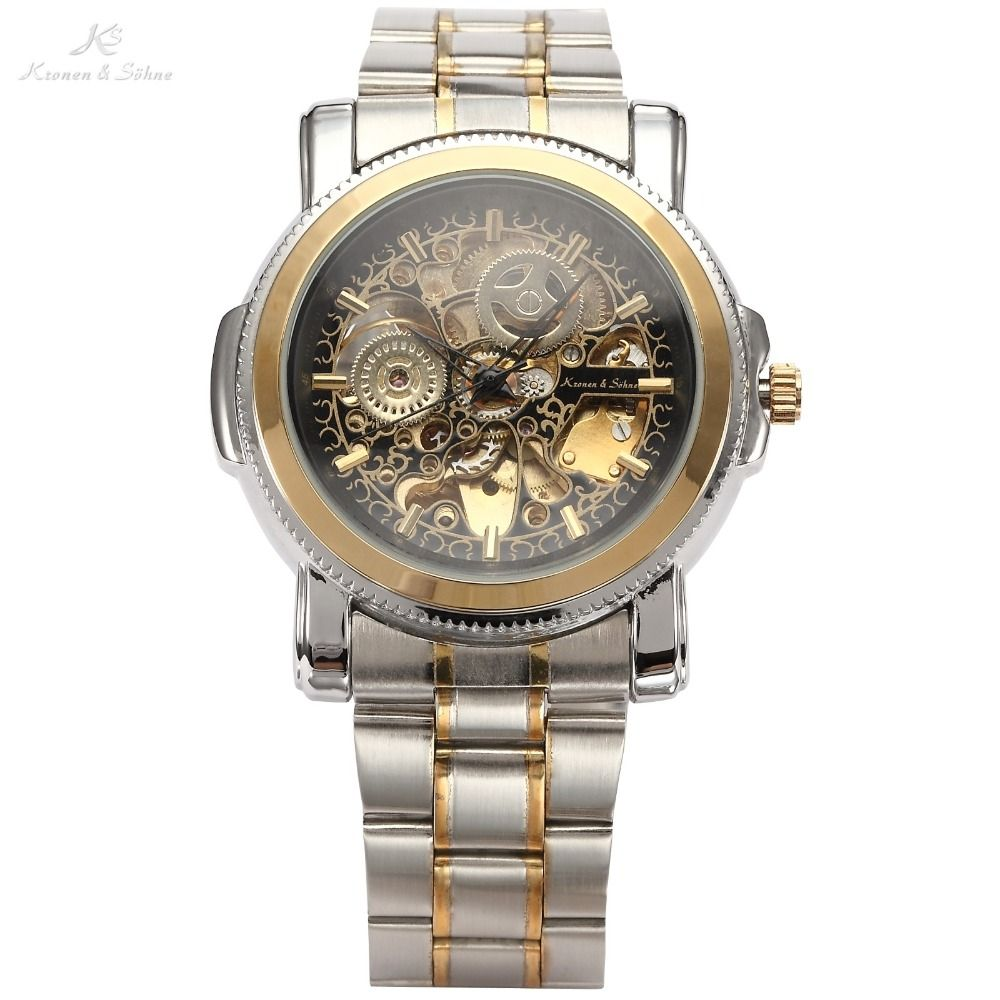 Luxury KS Royal Carving Skeleton Steampunk Automatic Mechanical Golden Stainless Full Steel Dress Business Men's Watch / KS138
