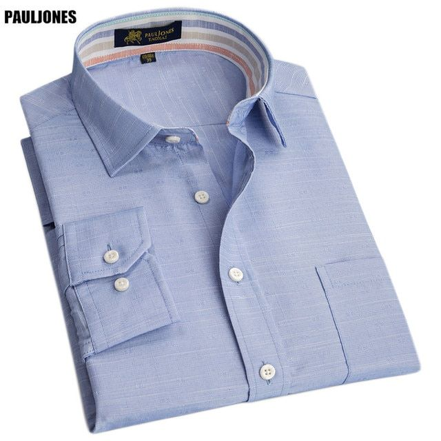 PaulJones 223x Spring High Quality Color Collar Mens Linen Shirts Long Sleeve Social Brand shirts Luxury China Imported Clothing