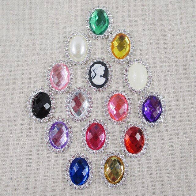 David accessories 20*25mm Crystal Rhinestones Buttons 10Pcs, DIY Hair Bows materials, DIY Wedding Decorations,10Y47763