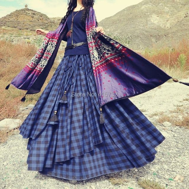 Free Shipping 2016 New Fashion Cotton Thick Winter Long Maxi Plaid Skirts Irregular A-line Autumn Elastic Waist Bohemian Skirt
