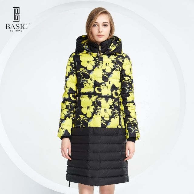 Basic Vogue Winter Women Floral Pattern Long Down Parka Jacket with Hood - Y16093