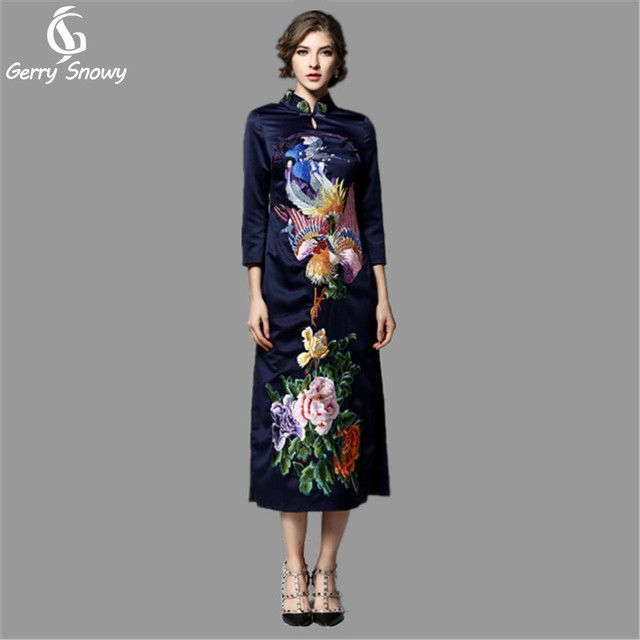GerrySnowy Vintage dress 2017 Spring women new Animal Peony Embroidery Robe vintage Blue+Red Polyester cheongsam dresses S-2XL