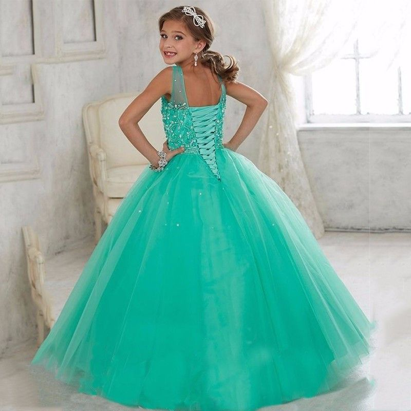 Elegant Crystal Beads First Communion Dresses For Girls 2016 A-line High Collar Flower Girl Dresses kids prom evening gowns
