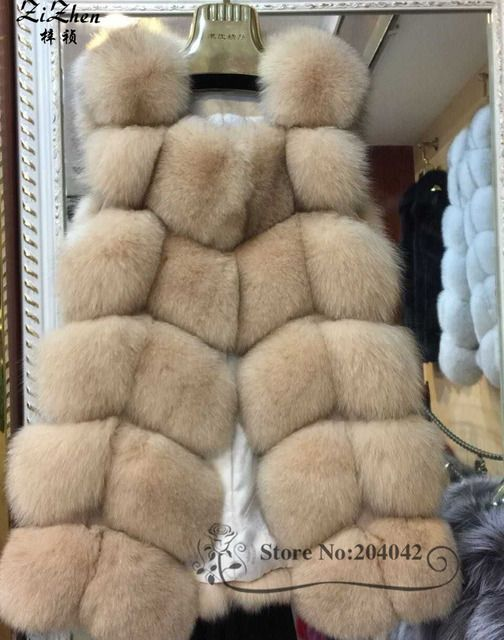 New Winter Genuine Fox Fur Vest Women's Full Pelt Gilet Warm Luxury Real Natural Fox Fur Waistcoat Pockets 150908-1