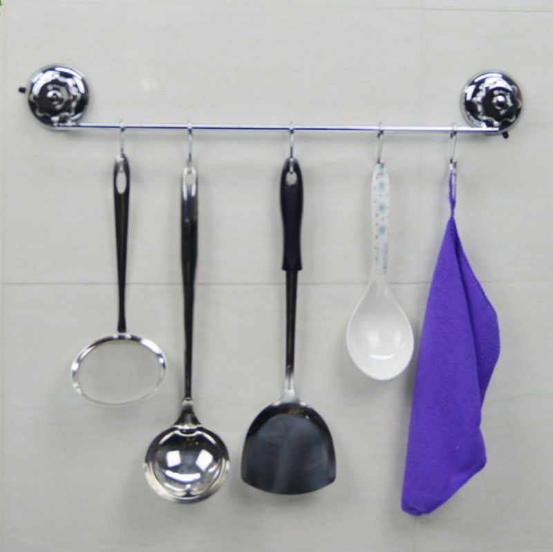 Suction Cup Kitchen Organizer Cooking Tool Rack Kitchen Utensils Hanger Ladle Spatula Whisk Hook For Kitchen Decoration