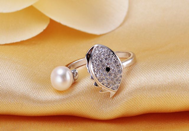 2016 Natural Cultured pearl ring 100% real freshwater pearl jewelry opening adjustable elegant zircon women wedding ring