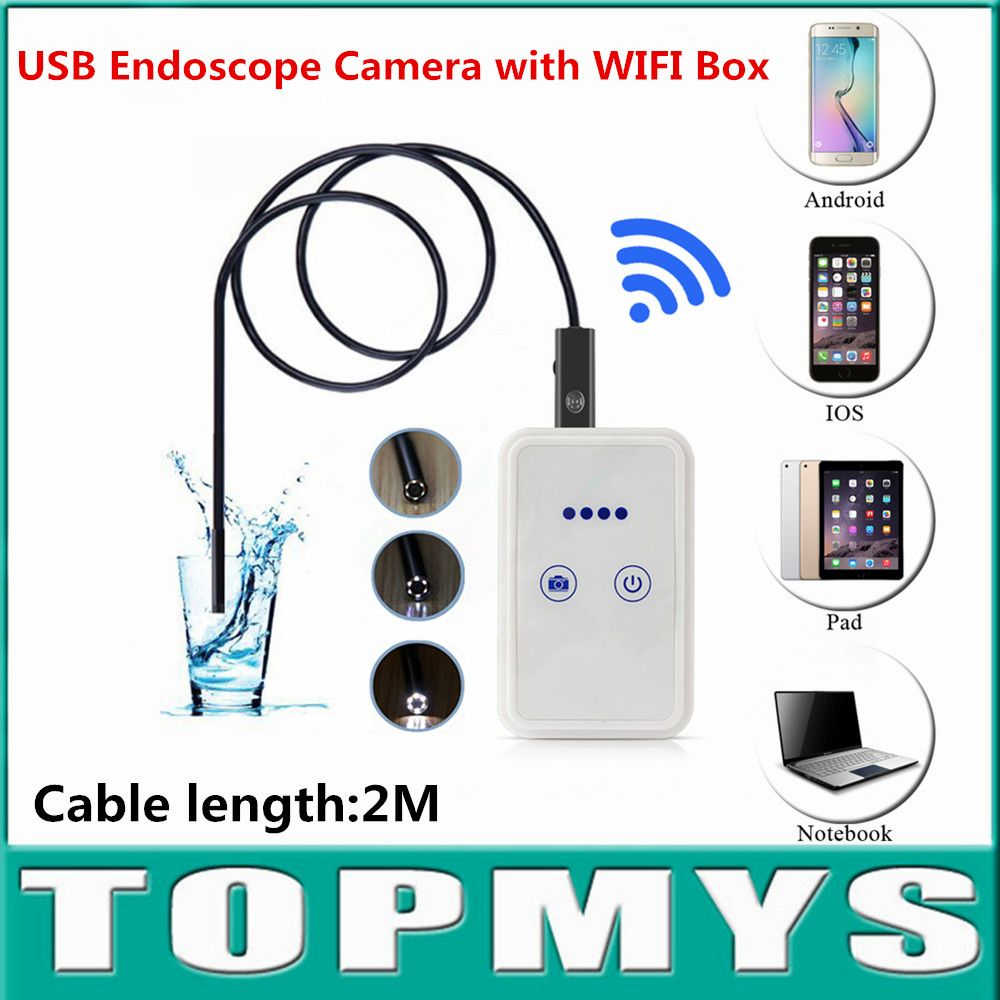 USB Endoscope mini camera with WIFI Box Android Iphone endoscope Camera wifi pinhole Camera TM-WE9 cable2M lens 9mm snake camera