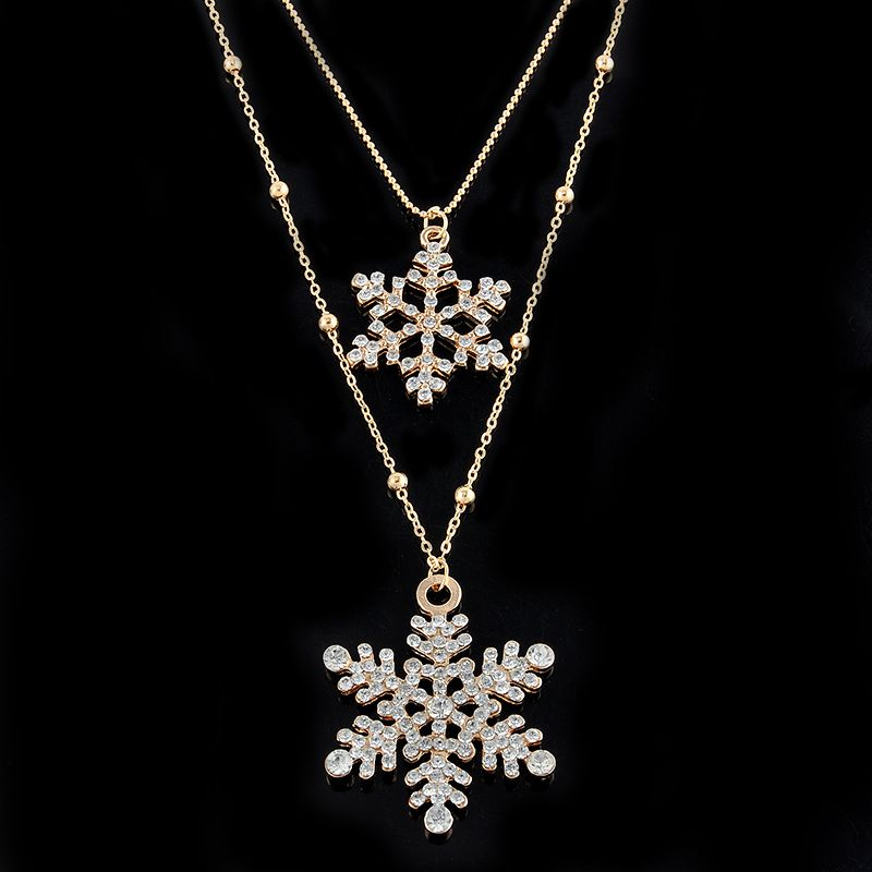 Fashion Gold Rhinestone Snowflake Pendant Necklaces Long Sweater Chain Double Layers Necklace & Pendant new year