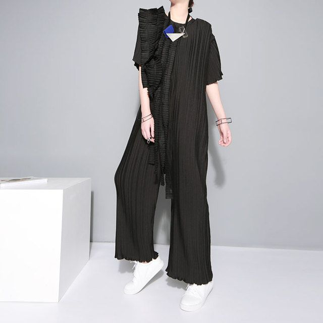 [TWOTWINSTYLE] 2016 summer pleated tassels craft chiffon wide leg pants female jumpsuit women