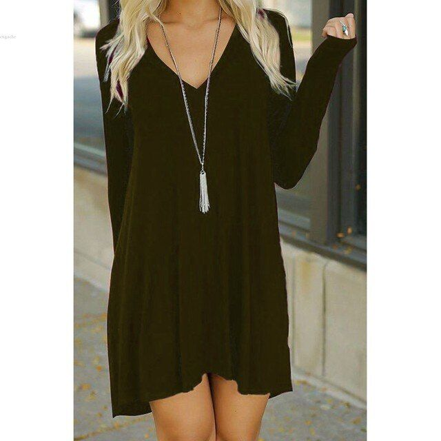 Women Fashion Casual Slim V Neck Long Sleeve Solid Asymmetrical Hem A-Line Short