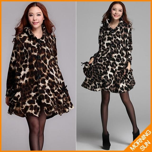 leopard casaco sobretudo lotus leaf collar 2017 women winter autumn woollen overcoat cardigans trench abrigos mujer coat #362