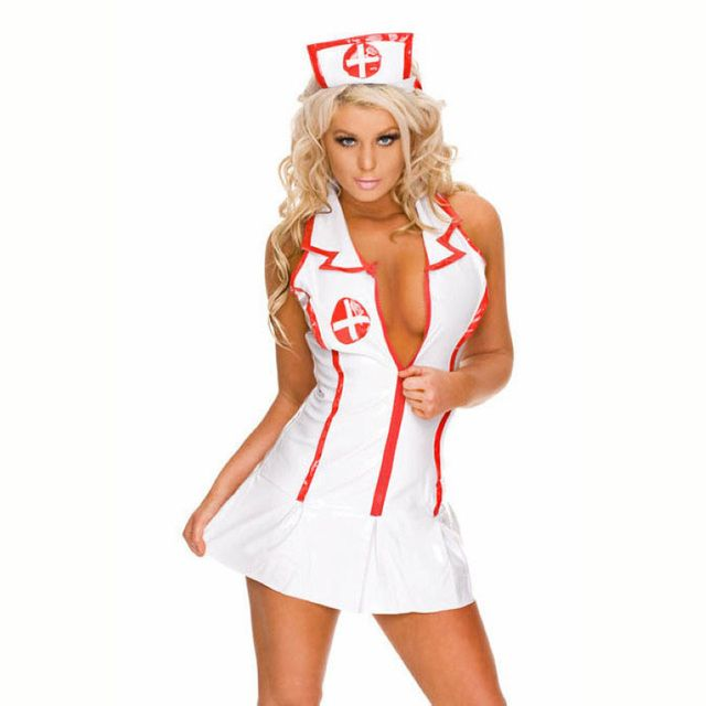 1Set Sexy Lingerie Roleplay Fancy Hot Bedroom Nurse Costume Nurse Outfit Dress& Hat Sexy Costumes Fashion Clothing