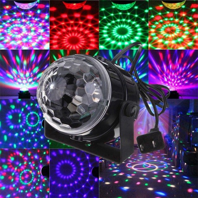 RGB LED Stage Lighting Effect 5W Voice Sound Control Crystal Magic Ball Laser Stage Lighting Party Disco Club DJ Lights Lamp