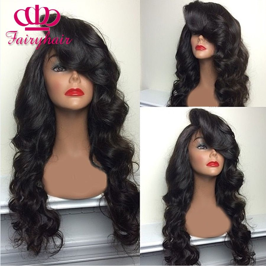 Wholesale Synthetic lace front wig black body wave with bangs heat resistant synthetic lace front wig for black women lace wig