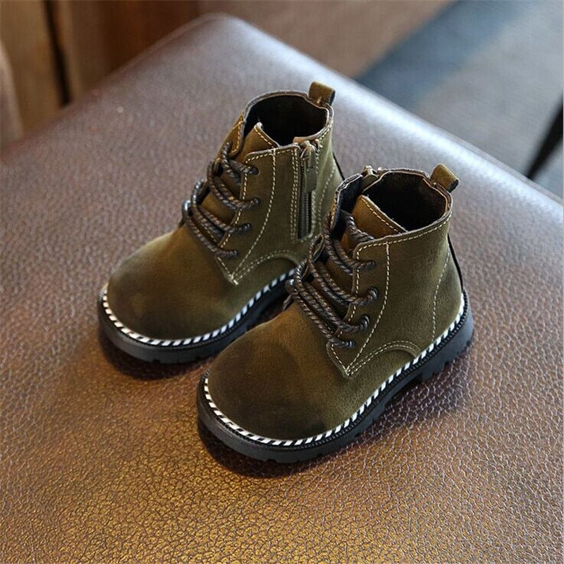 Spring/Autumn Children Boots Girls Boys Leather Zip Rubber Ankle Martin Boots Fashion Baby Boy Girl shoes For Kids Boots 21-30