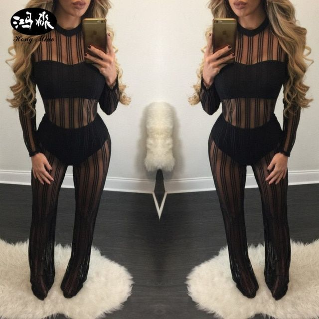 2017 new see through mesh Jumpsuits long sleeve o neck zipper rompers womens Jumpsuits black striped sexy bodysuit YC-J1153