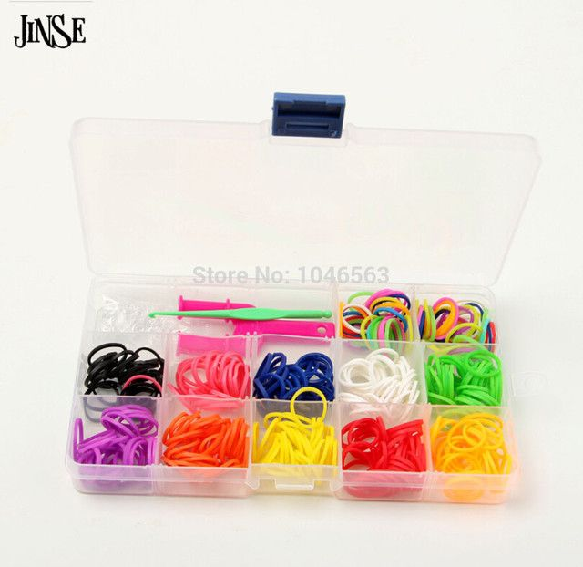 "JINSE children DIY bracelet & bangle gift Silicone loom band 360 bands + 1 ""Y"" Shape Mini Loom + 24 s-clips + 1 hook Fashion"
