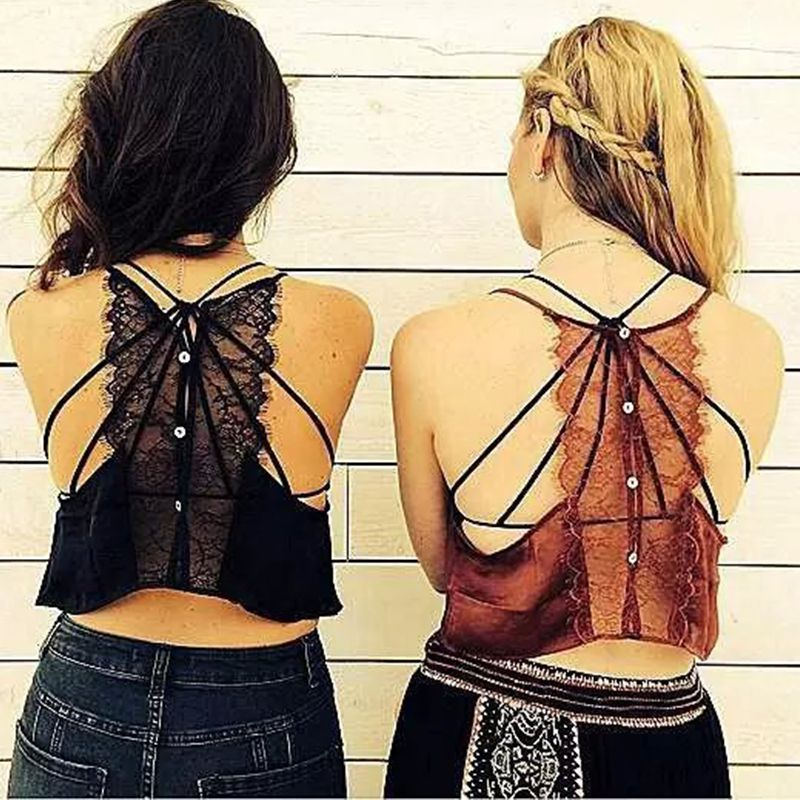 Sexy Patchwork Lace Tops Women Cropped V-neck Backing Sleeveless Satin Vest Spaghetti Strap Top Camisole Blusa HD86-327