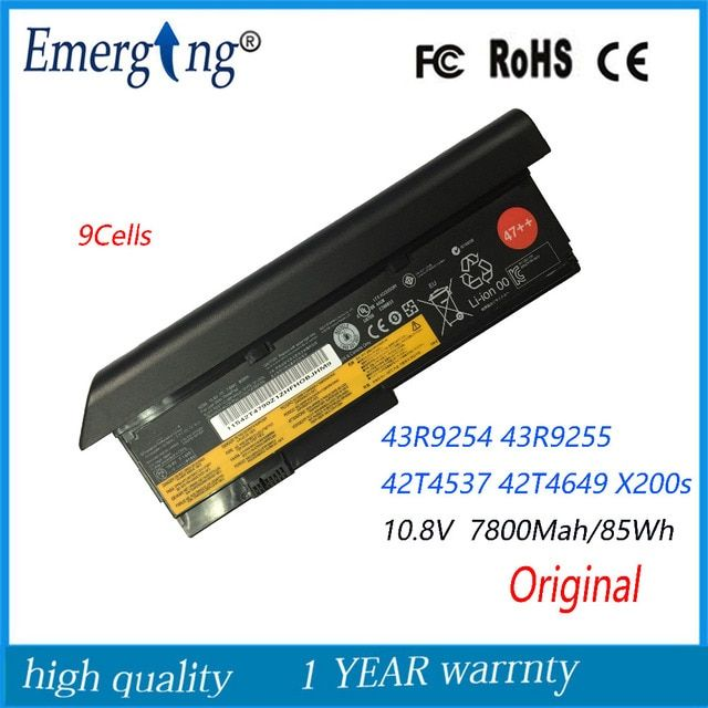 10.8V 85WH Original New Laptop Battery for Lenovo X200 X200s X201s X201 42t4649 42t4825 43r9254 42t4646 42t4647 42t4648