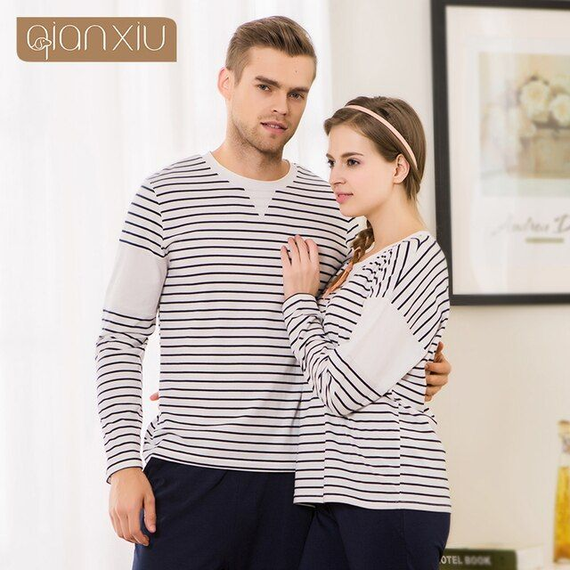 Qianxiu the fall of the new couple striped pajamas suits for women