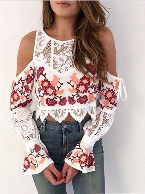 2016 New arrive floral embroidery tops