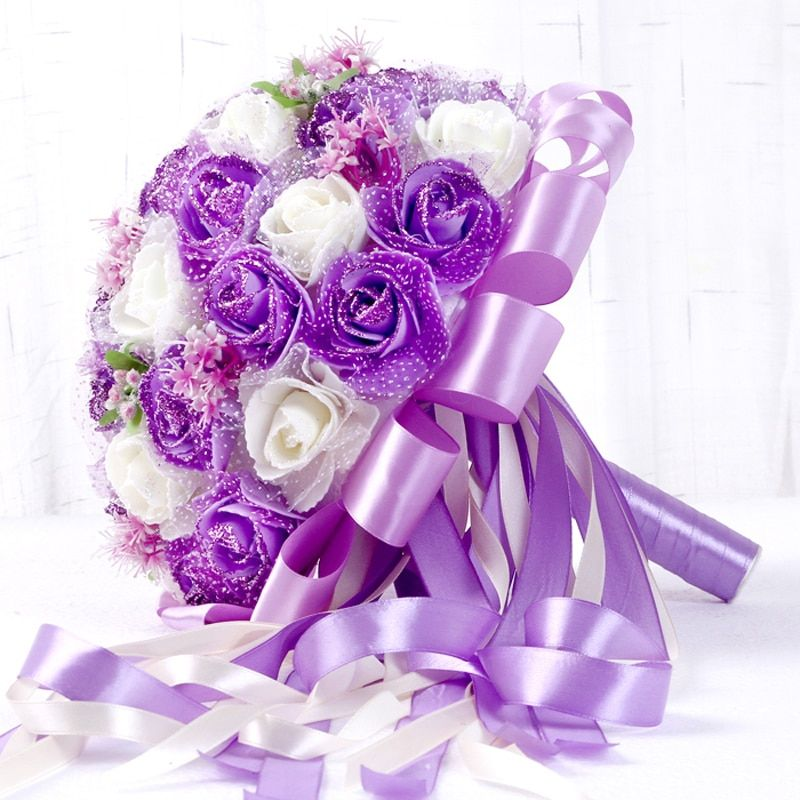 Purple Bridal Bouquet Artificial 45pcs Artificial flower Rose with Ribbon Big Wedding Bouquet Flowers Bridesmaid Bridal Holder