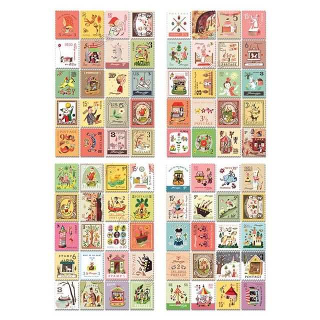 80pcs/4sheet DIY Retro Stamp London Paris Prince Italy Sticky Paper Sticker Kawaii Girl Stationery Stickers for Diary Decoration