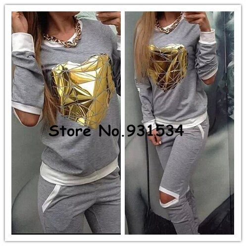 High Quality 2016 Tops+Pants Spring Tracksuits Women's Suits Heart Print Sweatshirt Women Clothing Set Hoodies Costumes