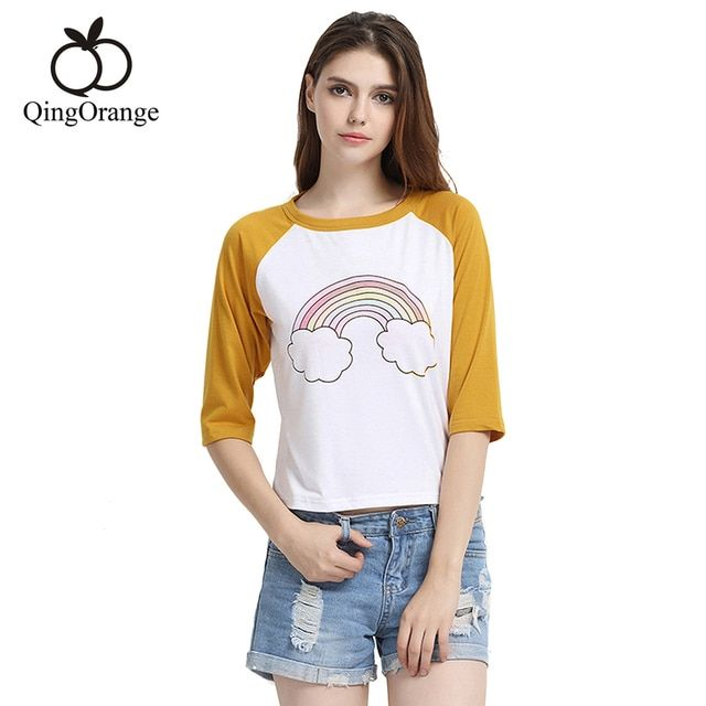 Women Rainbow Print T-shirt Half Sleeve O-neck  White and Yellow Tees Tops Plus Size Free Shipping