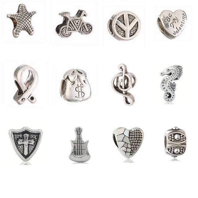 wholesale 12Pcs Silver plated heart/dragon/star charms European beads big hole Bead fit roll chain bracelet/necklace  beads F84