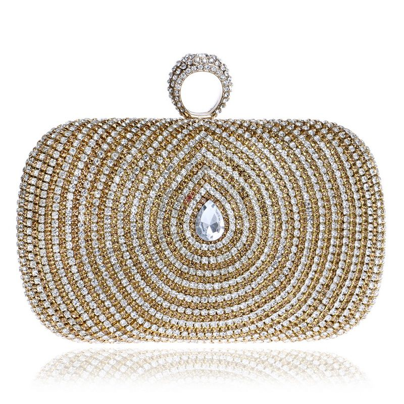 Ring Diamonds women evening bags rhinestones clutches purse gold evening bag small chain shoulder bag Casual Clutches Women