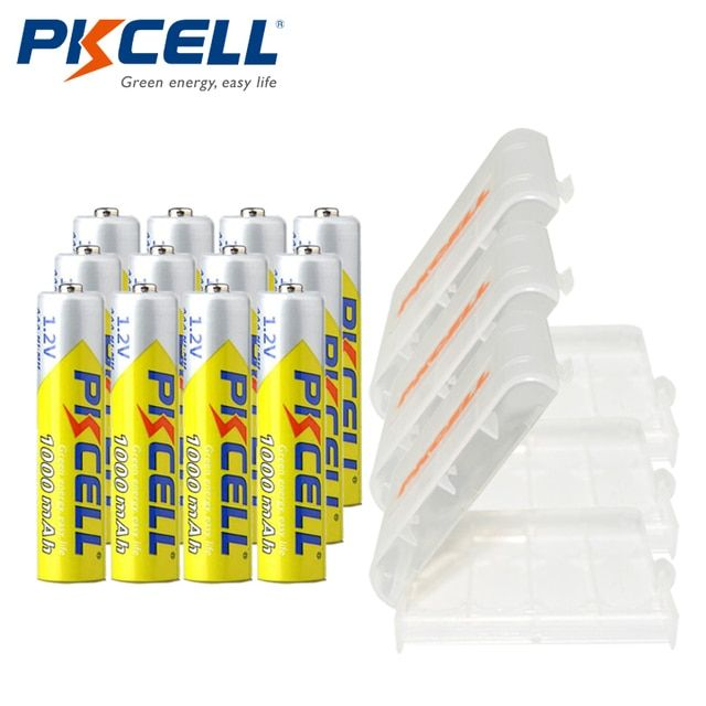 12 X PKCELL AAA Battery Ni-MH 1.2V 1000MAH AAA Rechargeable Battery Batteries 3A Bateria Baterias + 3Pcs Battery Hold Case Box