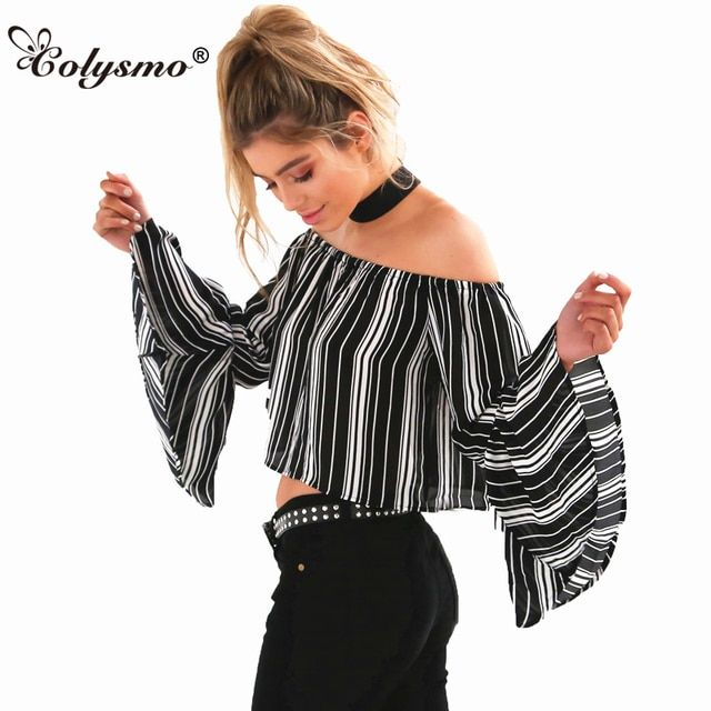 Colysmo Striped Crop Top Summer Blouse Women Shirt Blusas Feminina Boho Tops Flare Sleeve Off Shoulder Blouse Shirt Cropped Top