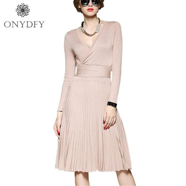 2017 High Quality Autumn Long Knitted Sweater Dress Women Long Sleeve Sexy V-neck Pleated Dresses With Sashes Casual Vestidos