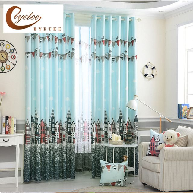 {byetee} Sky Blue Printed Castle Bedroom Window Curtain and Tulle for Kids Study Room Child Cortinas  Baby Room Curtains