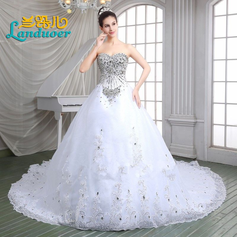 High Quality Luxury Crystal Beaded Princess Sweetheart Wedding Dresses Cathedral Train Lace-up Vestido de noiva Long Bridal Gown